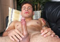 Keith plays with his rock hard uncut cock at Active Duty