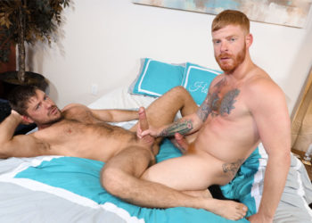 """Jack Andy bottoms for Bennett Anthony in """"First Time with a Ginger"""" from Pride Studios"""