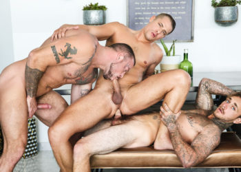 """Brian Michaels and Sean Duran team up to fuck Aston Springs in """"Game On"""" part 3"""