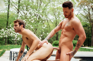 "Max Adonis debuts in ""Before The Afterglow"" part three and rides Josh Moore's big cock"