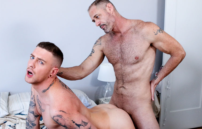 "Hairy dad D Arclyte fucks inked bottom Danny Gunn in ""Punished"" from Pride Studios"