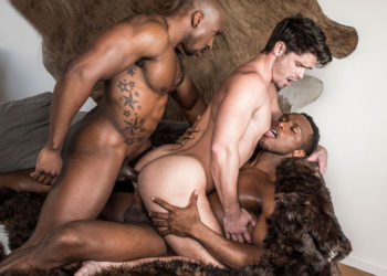Max Konnor and Andre Donovan double-penetrate Devin Franco in a raw threesome