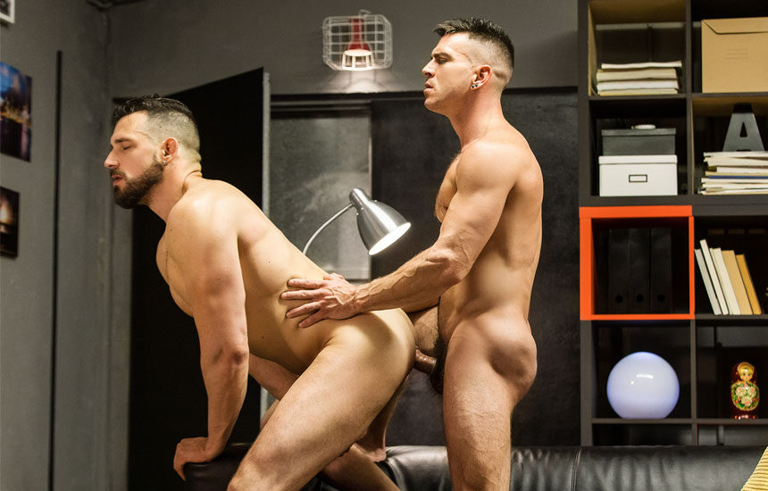 "Enzo Rimenez takes Paddy O'Brian's thick cock in ""Homopod"" part three from Men.com"