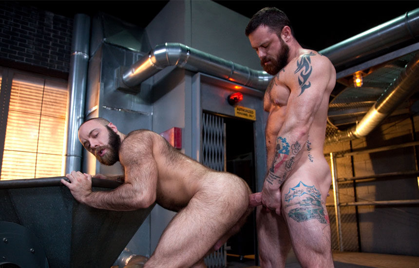 "Masculine top Sergeant Miles barebacks Teddy Bear in ""Raw Power"" part 4 from Raging Stallion"