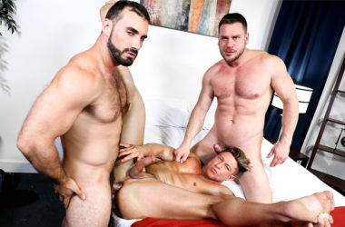"Jaxton Wheeler fucks both Bryce Evans and Hans Berlin in ""Spice Things Up"""