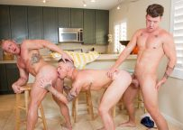 """Johnny V and JJ Knight double-penetrate Danny Gunn in """"Swim Meat"""" part two"""