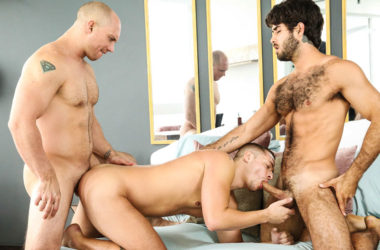 "Aston Springs gets fucked by Diego Sans and John Magnum in ""Bend and Snatch"""