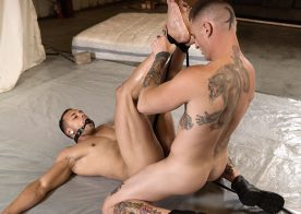 """Dane Stewart uses Leon Lewis as a fuck toy in """"Rough and Raw 3"""" part two from Bromo"""