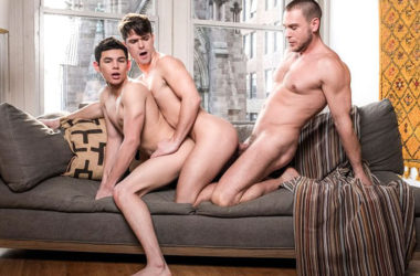 "Hans Berlin fucks with Ricky Verez and Devin Franco in ""Daddy's Good Boy"" part three"