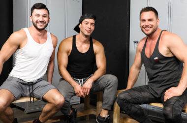 Alexander Garrett and Scott Demarco fuck Hans Berlin in a locker room threeway
