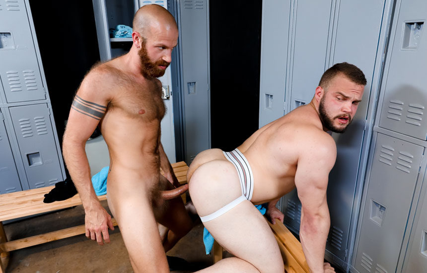 James Stevens fucks Dax Carter's big ass in the Pride Studios locker room