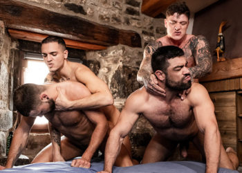 """Leo Rex and Geordie Jackson fuck Jeffrey Lloyd and Wagner Vittoria in """"Alpha Cum"""" part two"""