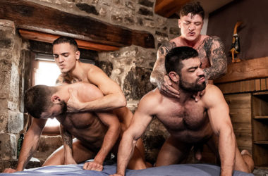 "Leo Rex and Geordie Jackson fuck Jeffrey Lloyd and Wagner Vittoria in ""Alpha Cum"" part two"