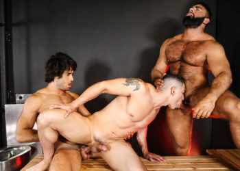 "Steven Roman and Diego Sans fuck Jeremy Spreadums from both sides in ""Coast Guard"" pt 3"