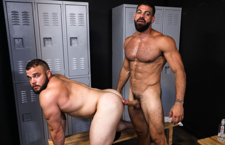 "Hairy stud Ricky Larkin fucks Dax Carter in ""Muscled Up!"" from Pride Studios"