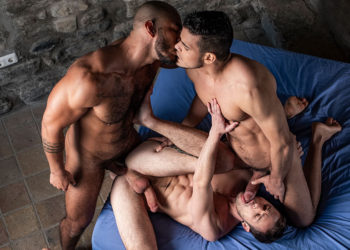 Drake Rogers gets fucked in a raw threesome with Louis Ricaute and Rico Marlon