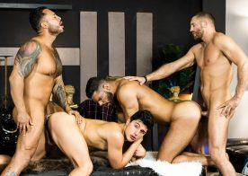 "Viktor Rom, Emir Boscatto, Ken Summers and Lucas Fox fuck in ""Telenovela"" part four"