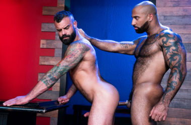 "Hairy studs Drake Masters and Daymin Voss flip-fuck in ""Furgasm"" part 1 – Raging Stallion"