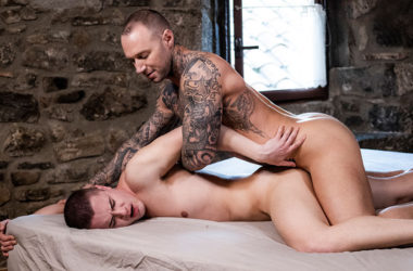 "Austin Sugar gets a good fill from Dylan James in ""Alpha Cum"" part 3 from Lucas Entertainment"