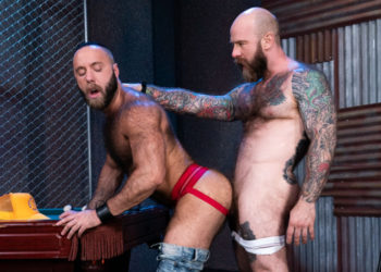 """Hairy studs Jack Dixon and Teddy Bear fuck in """"Furgasm"""" part five from Raging Stallion"""
