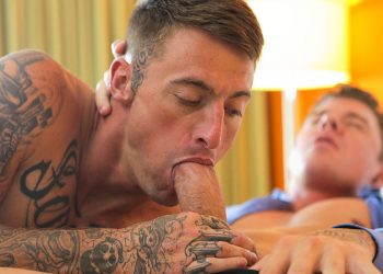 Dane Stewart deepthroats JJ Knight's big cock before getting fucked