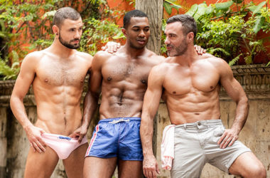 Manuel Skye, Sean Xavier and Jeffrey Lloyd in a bareback Lucas Entertainment threeway
