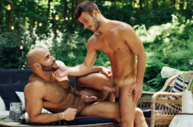Allen King rides Sean Zevran's big cock in a hot outdoor scene from CockyBoys