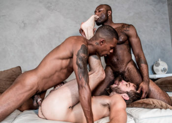 """Jacen Zhu and Noah Donovan fuck Max Adonis in """"Stepbrother Threeway"""" from Noir Male"""