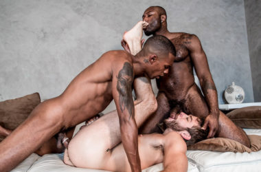 "Jacen Zhu and Noah Donovan fuck Max Adonis in ""Stepbrother Threeway"" from Noir Male"
