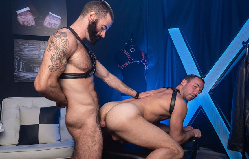Alex Hawk worships Brendan Patrick's cock and gets a raw pounding