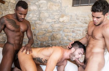 "Andy Star bottoms for Pheonix Fellington and Rico Marlon in ""Banged & Bred"" part three"