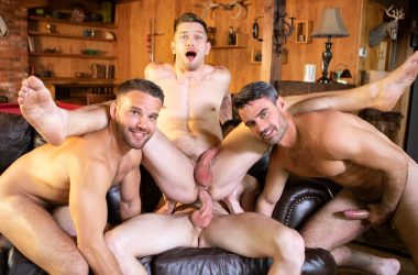 Deacon gets fucked by Sean, Daniel and Jackson in a bareback gangbang