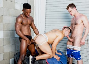 Kurtis Wolfe, Cazden Hunter and Liam Cyber in a bareback threeway from Hot House