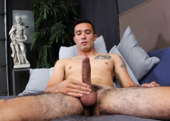 Active Duty newcomer Jay Luna works every inch of his big uncut cock