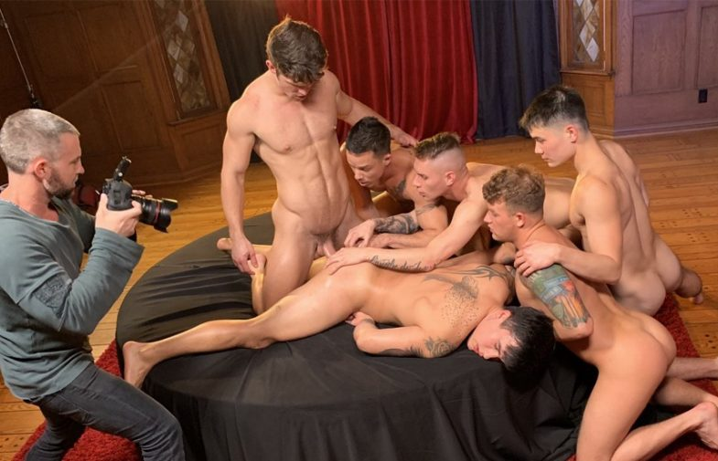 "Tony Dimarco and Chi Chi LaRue have teamed up to film ""The Pledge"" for Falcon Studios"
