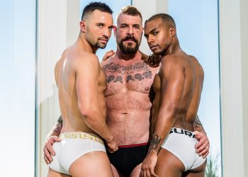 "Rocco Steele fucks Colby Tucker and Jacen Zhu in Noir Male's ""Double Checkmate"""