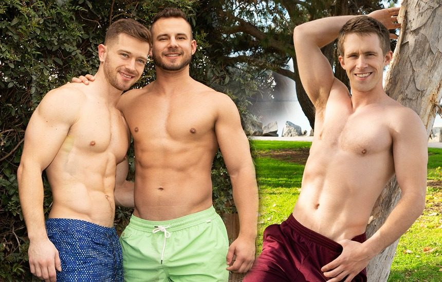 Josh fucks Deacon in a cum-filled Sean Cody video and newcomer Homer jerks off