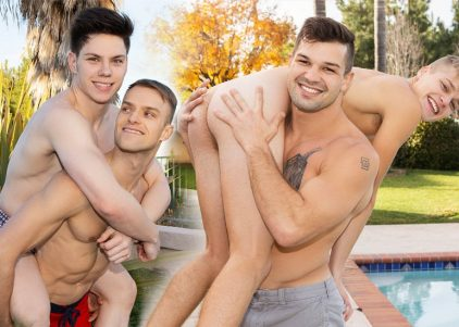 Jaymus bottoms for Riley, while Brysen fucks twink newbie Jace & Chris rubs out a load