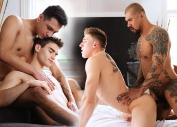 Mateo Vice and Damian Grey flip-fuck and Wess Russel takes Boomer Banks' big raw cock