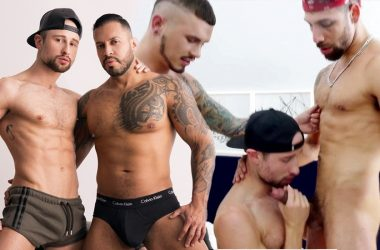 Drew Dixon bottoms for Viktor Rom and gets double-penetrated by FX Rios and Seth Knight