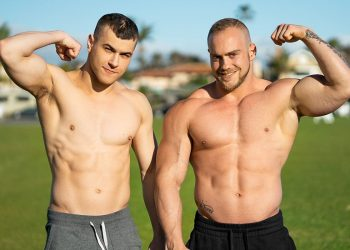 Big muscle top Brock fills Ayden's ass up with raw meat at Sean Cody