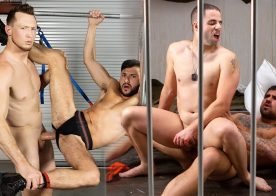Pierce Paris fucks Scott Demarco and Shawn Assmore bottoms for Ryan Bones