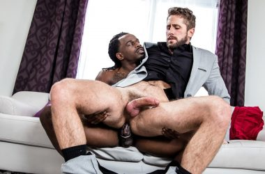 "Wesley Woods bottoms for Fame and takes his big cock in ""Working Late"""