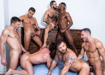 """Ganged, Banged & Pounded"": A 7 guy bareback orgy from Lucas Entertainment"