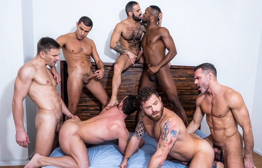 """""""Ganged, Banged & Pounded"""": A 7 guy bareback orgy from Lucas Entertainment"""