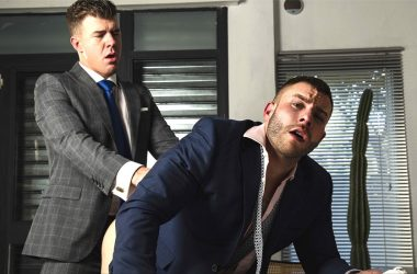 "Diego Reyes takes JJ Knight's big cock in ""Office Schematics"" from Men At Play"