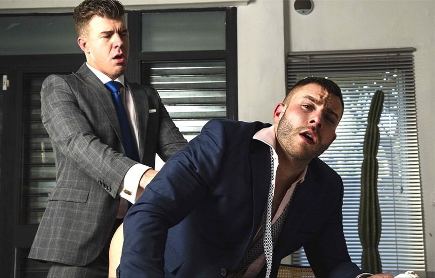 """Diego Reyes takes JJ Knight's big cock in """"Office Schematics"""" from Men At Play"""