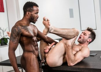 """Max Adonis bottoms for Pheonix Fellington in Noir Male's """"The Exhibitionist"""""""