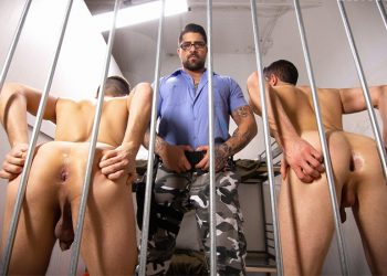 "Prison guard Ryan Bones fucks Killiam Wesker and Collin Lust in ""Raw Lockup"" part 2"
