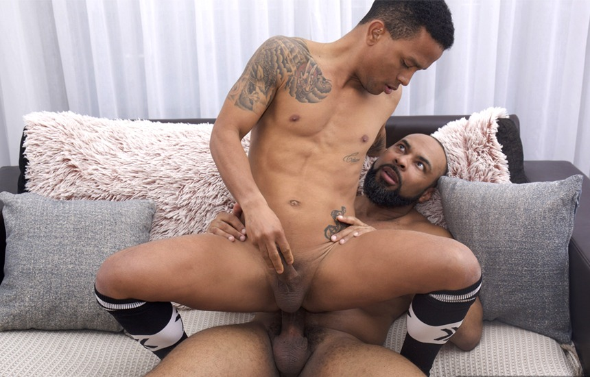 """Cesar Paulino bottoms for hung daddy Ray Diesel in Fuckermate's """"Black and Bare"""""""